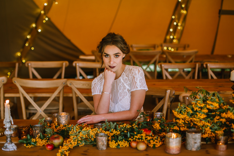Tablescape Table Rustic Fruit Flowers Props Lighting Edgy Seasonal Autumnal Tipi Wedding Ideas http://www.sambennettphotography.co.uk/