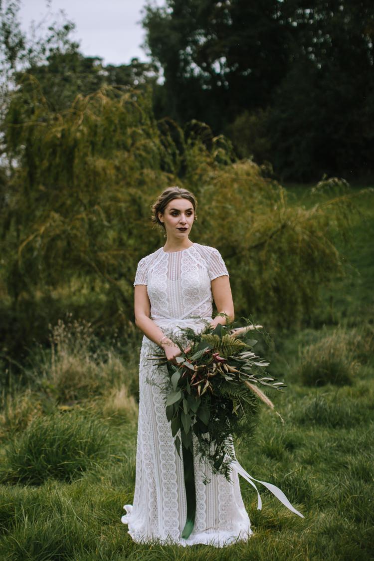 Bouquet Flowers Greenery Foliage Large Organic Wild Grass Ribbons Bride Bridal Edgy Seasonal Autumnal Tipi Wedding Ideas http://www.sambennettphotography.co.uk/
