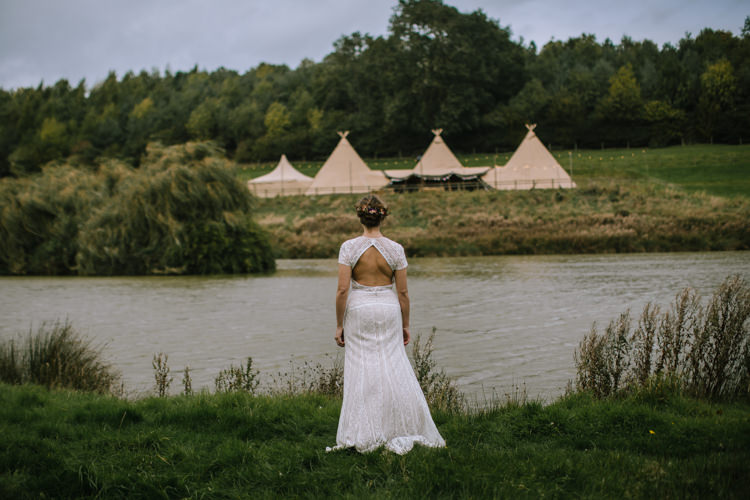 Crochet Lace Sleeve Dress Bride Bridal Gown Edgy Seasonal Autumnal Tipi Wedding Ideas http://www.sambennettphotography.co.uk/