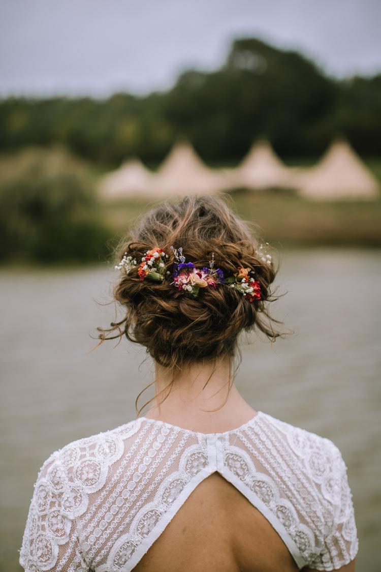 Hair Bride Bridal Style Up Do Braid Plait Flowers Messy Rustic Edgy Seasonal Autumnal Tipi Wedding Ideas http://www.sambennettphotography.co.uk/