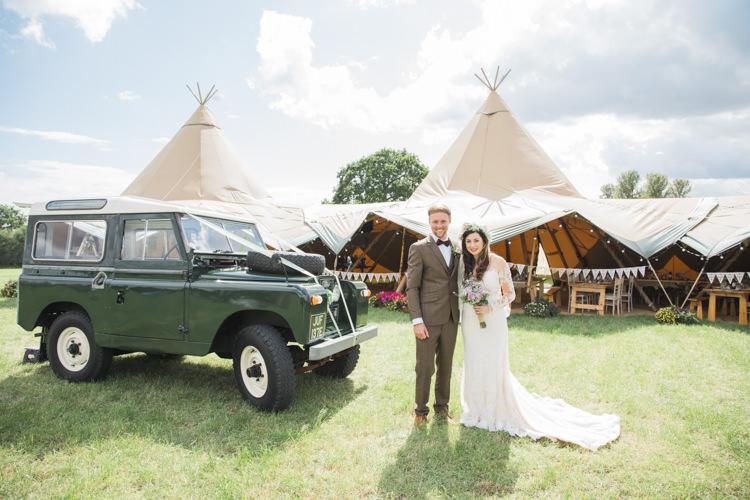 Land Rover Transport Unique Country Farm Tipi Wedding http://www.nataliedphotography.com/