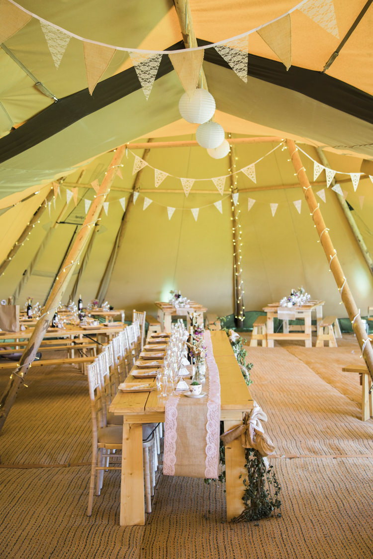 Lanterns Bunting Fairy Lights Unique Country Farm Tipi Wedding http://www.nataliedphotography.com/