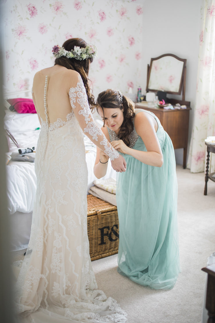 Bride Bridal Flower Crown Lace Dress Gown Illusion Back Unique Country Farm Tipi Wedding http://www.nataliedphotography.com/