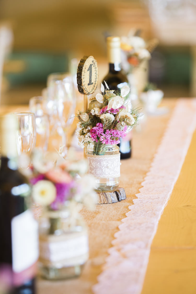 Hessian Lace Burlap Flowers Jars Log Table Number Unique Country Farm Tipi Wedding http://www.nataliedphotography.com/