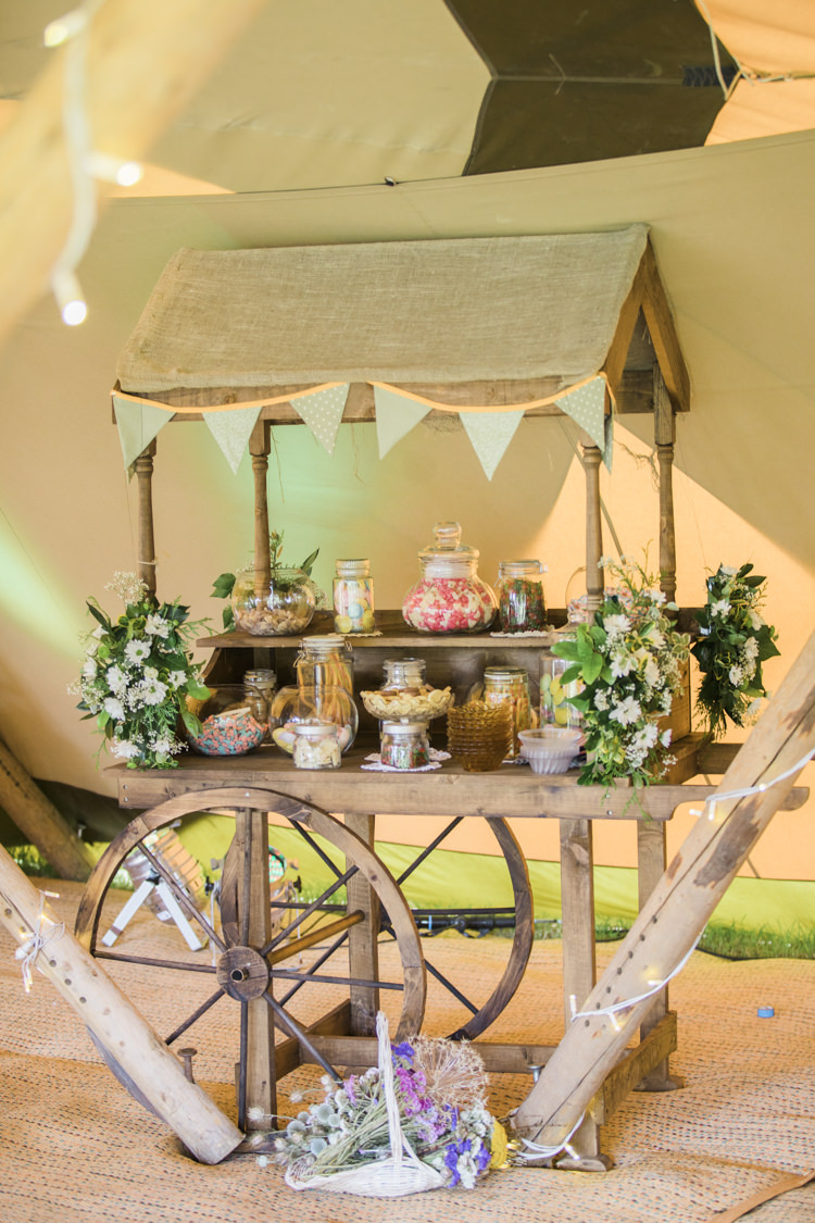 Sweets Sweetie Cart Station Bar Unique Country Farm Tipi Wedding http://www.nataliedphotography.com/