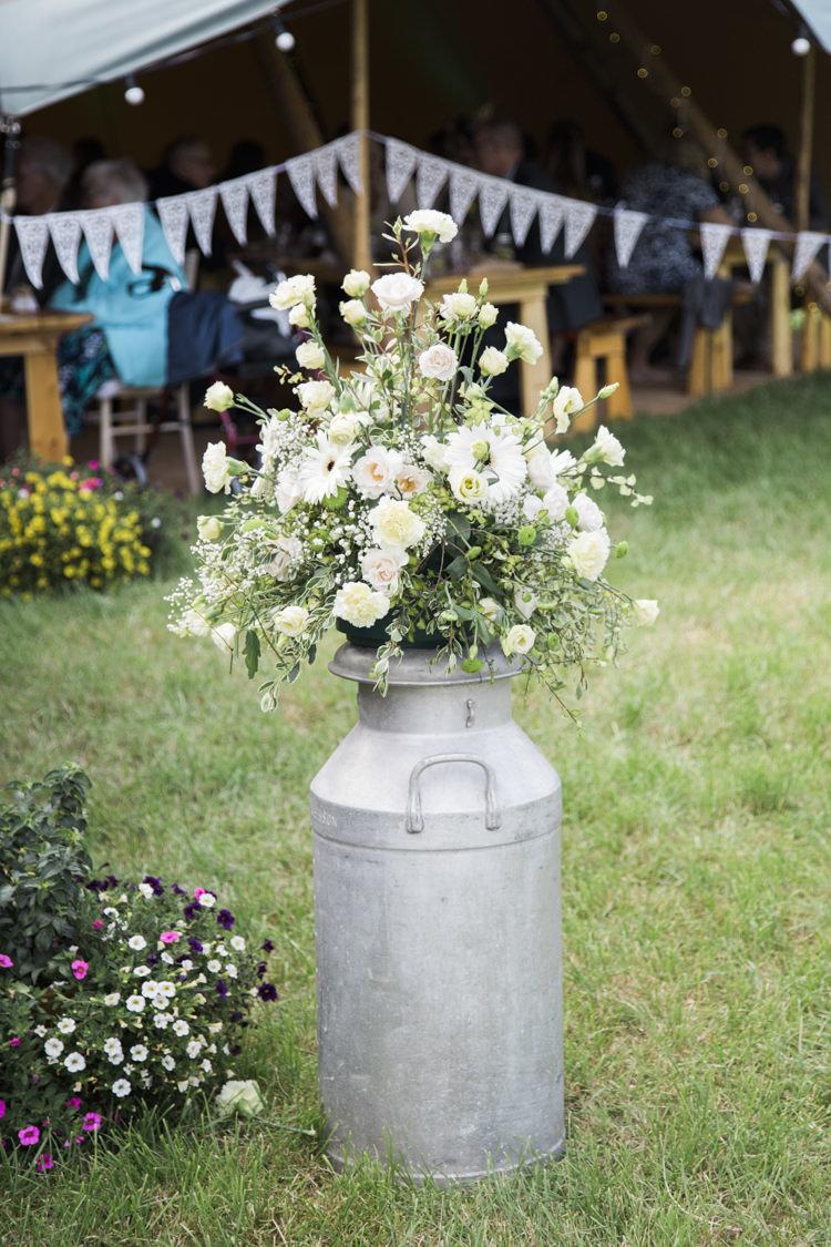 Milk Church Flowers Unique Country Farm Tipi Wedding http://www.nataliedphotography.com/