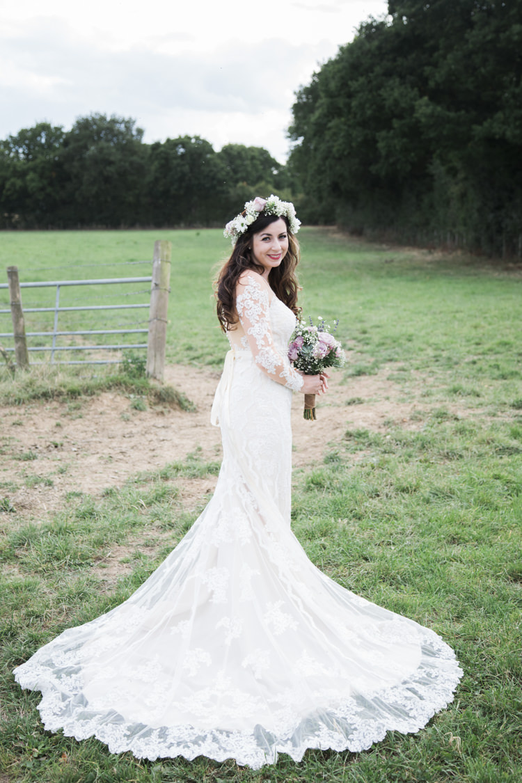 Bride Bridal Flower Crown Lace Dress Gown Train Unique Country Farm Tipi Wedding http://www.nataliedphotography.com/