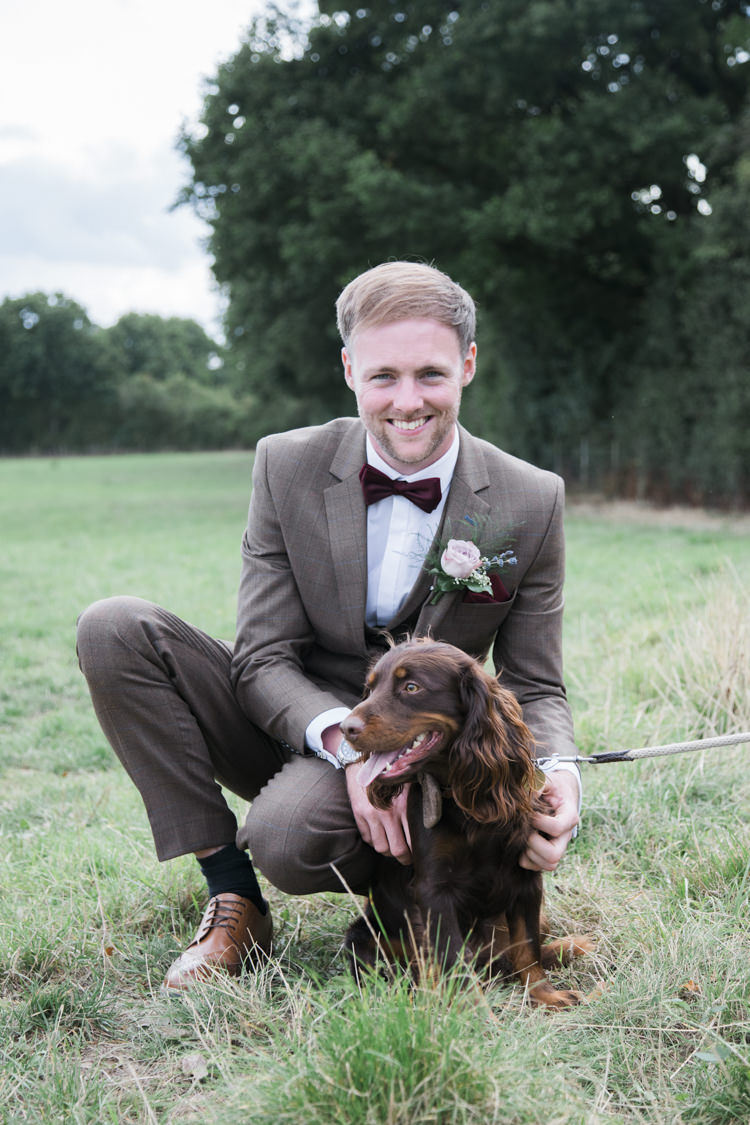Brown Suit Groom Check Red Bow Tie Dog Pet Unique Country Farm Tipi Wedding http://www.nataliedphotography.com/