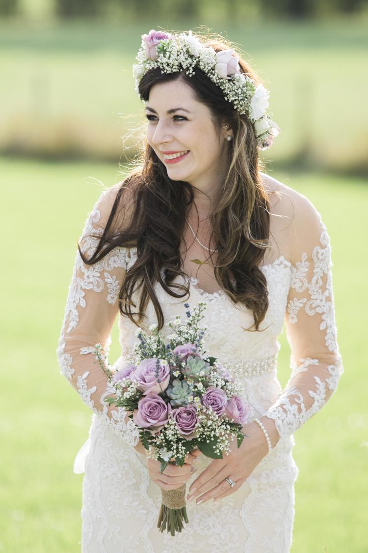 Bride Bridal Flower Crown Lace Dress Gown Unique Country Farm Tipi Wedding http://www.nataliedphotography.com/