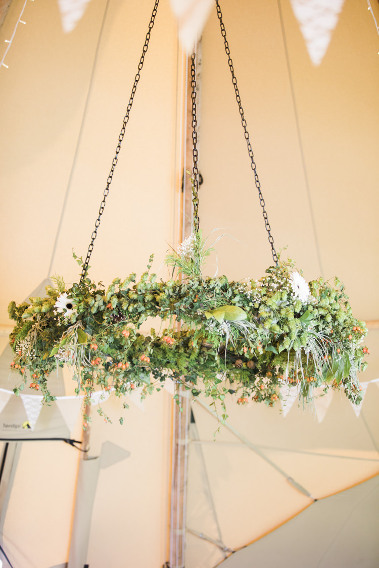 Hanging Flowers Hoop Chandelier Greenery Unique Country Farm Tipi Wedding http://www.nataliedphotography.com/