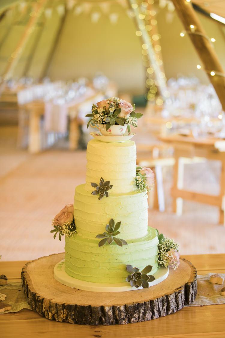 Buttercream Green Ombre Cake Log Stand Unique Country Farm Tipi Wedding http://www.nataliedphotography.com/