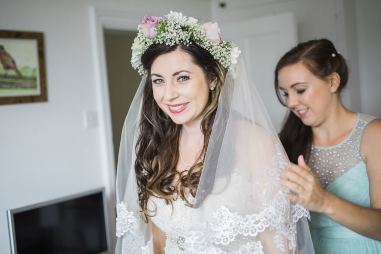 Bride Bridal Flower Crown Lace Dress Gown Veil Unique Country Farm Tipi Wedding http://www.nataliedphotography.com/