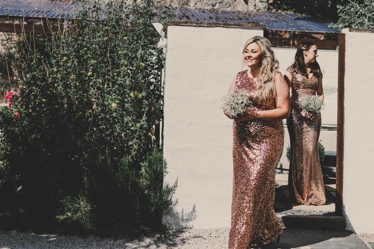 Bridesmaids Gypsophila Full Length Maxi Glittery Rose Gold Sequins Greenery Musical Wedding https://www.jademaguirephotography.uk/