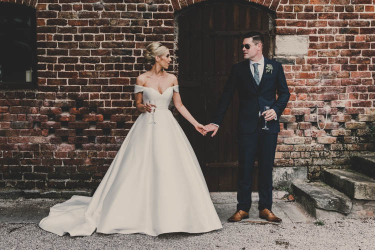 Bride Bridal Princess A Line Bardot Off the Shoulder Straps Sweetheart Neckline Ted Baker Groom Mod Suit Rose Gold Sequins Greenery Musical Wedding https://www.jademaguirephotography.uk/
