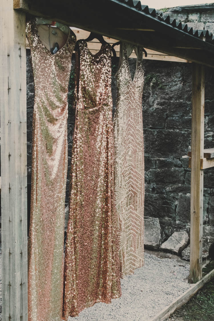 Bridesmaids Sparkly Glitter Mismatched Mix and Match Rose Gold Sequins Greenery Musical Wedding https://www.jademaguirephotography.uk/