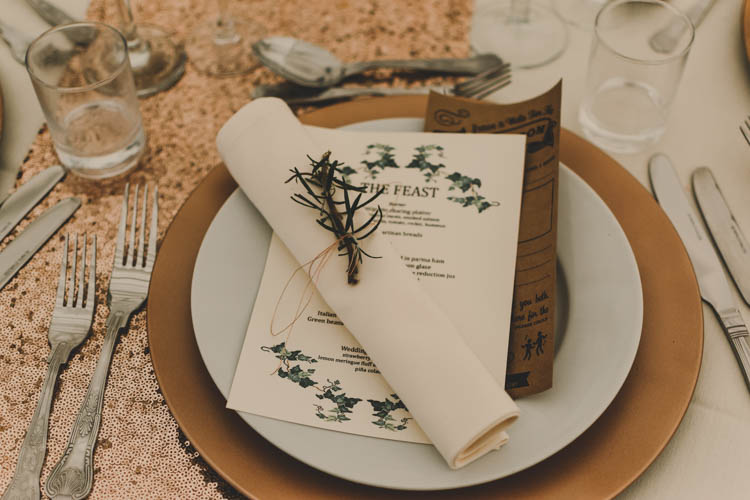 Charger Plate Rosemary Twine Rustic Menu Rose Gold Sequins Greenery Musical Wedding https://www.jademaguirephotography.uk/