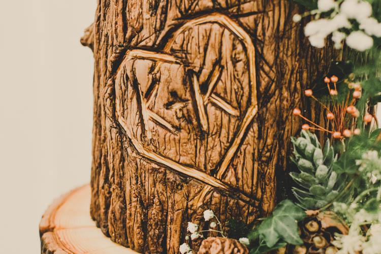 Wood Log Buttercream Cake Carving Initials Rose Gold Sequins Greenery Musical Wedding https://www.jademaguirephotography.uk/
