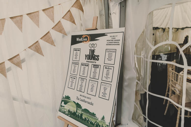 Table Plan Seating Chart Festival Fest Hessian Bunting Rose Gold Sequins Greenery Musical Wedding https://www.jademaguirephotography.uk/