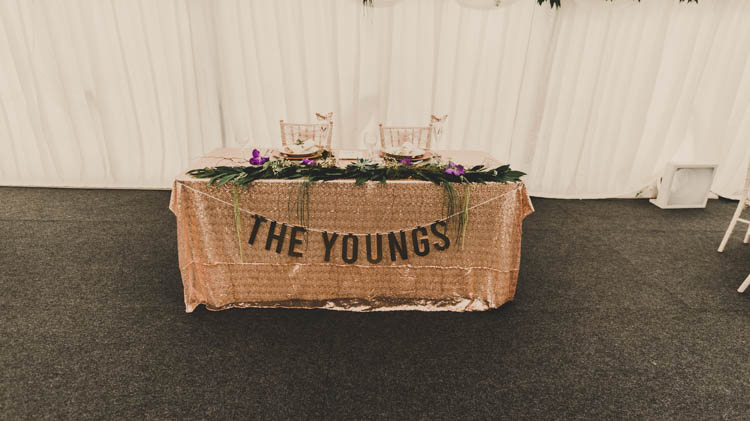 Sweetheart Table Bunting Runner Foliage Rose Gold Sequins Greenery Musical Wedding https://www.jademaguirephotography.uk/