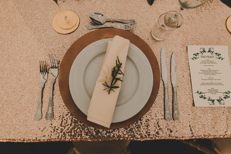Table Setting Charger Plate Menu Rose Gold Sequins Greenery Musical Wedding https://www.jademaguirephotography.uk/