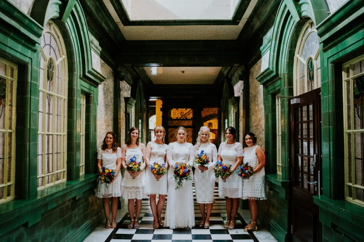 White Mismatched Bridesmaid Dresses Colourful Cool Humanist Pool Wedding http://www.stevebridgwoodphotography.co.uk/