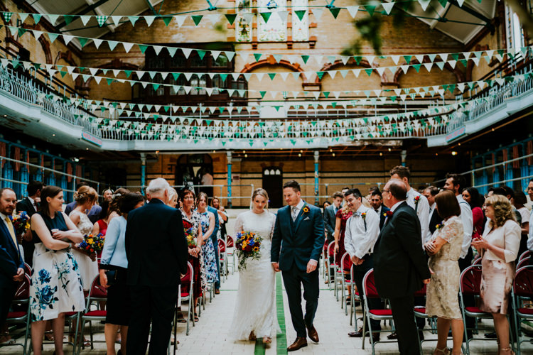 Bunting Green White Colourful Cool Humanist Pool Wedding http://www.stevebridgwoodphotography.co.uk/