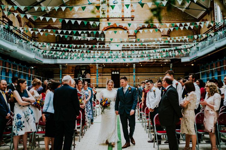 Bunting Green White Colourful Cool Humanist Pool Wedding http://www.stevebridgwoodphotography.co.uk/