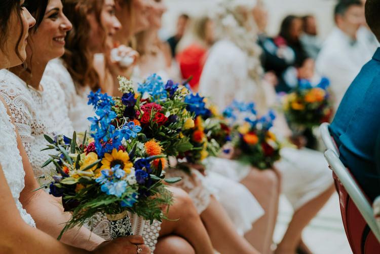 Bridesmaid Flowers Rainbow Bouquets Colourful Cool Humanist Pool Wedding http://www.stevebridgwoodphotography.co.uk/