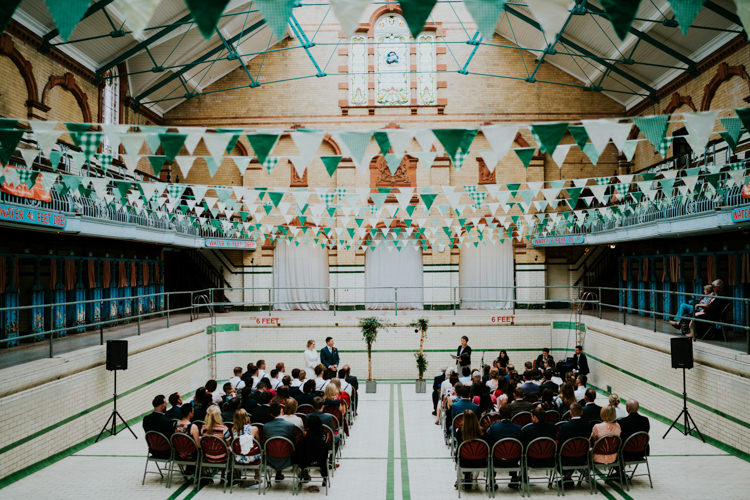 Victoria Baths Manchester Colourful Cool Humanist Pool Wedding http://www.stevebridgwoodphotography.co.uk/