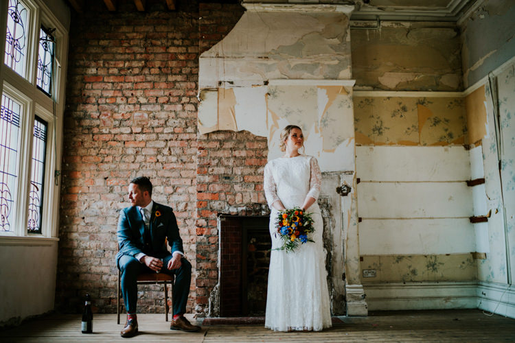 Lace Dress Gown Bride Bridal Sleeves Colourful Cool Humanist Pool Wedding http://www.stevebridgwoodphotography.co.uk/