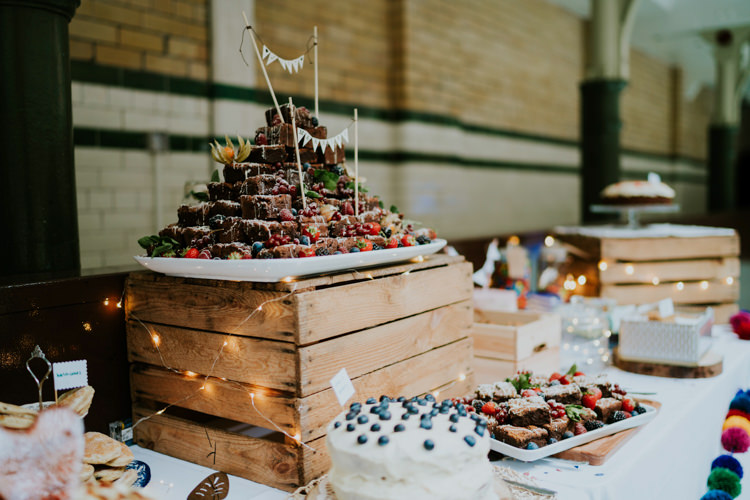 Brownie Cake Tower Colourful Cool Humanist Pool Wedding http://www.stevebridgwoodphotography.co.uk/