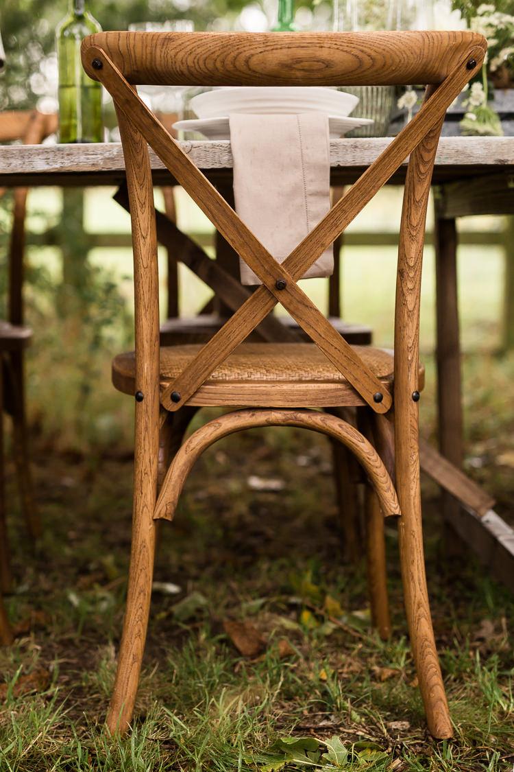 Rustic Wooden Cross Back Chairs Organic Rustic Greenery Wedding Ideas http://sarahbrookesphotography.com/