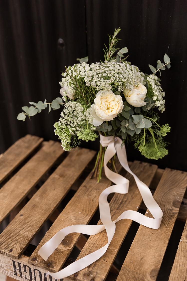 Bouquet Flowers White Green Bride Bridal Ribbon Eucalyptus Rose Rosemary Organic Rustic Greenery Wedding Ideas http://sarahbrookesphotography.com/