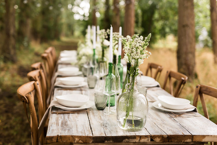 Outdoor Table Festoon Lights Tablescape Decoration White Green Organic Rustic Greenery Wedding Ideas http://sarahbrookesphotography.com/