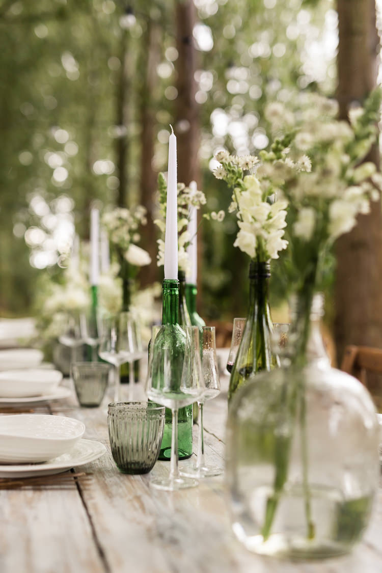 Outdoor Table Festoon Lights Tablescape Decoration White Green Candles Flowers Bottles Organic Rustic Greenery Wedding Ideas http://sarahbrookesphotography.com/