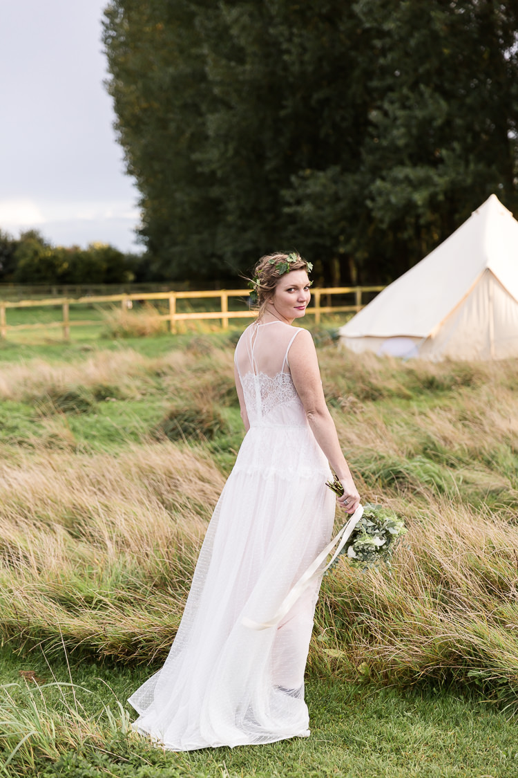 Lace Polka Dot Tulle Dress Bride Bridal Gown Flowing Boho Organic Rustic Greenery Wedding Ideas http://sarahbrookesphotography.com/