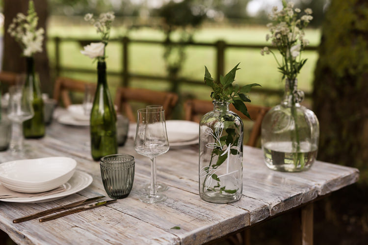 Outdoor Table Festoon Lights Tablescape Decoration White Green Flowers Bottles Organic Rustic Greenery Wedding Ideas http://sarahbrookesphotography.com/