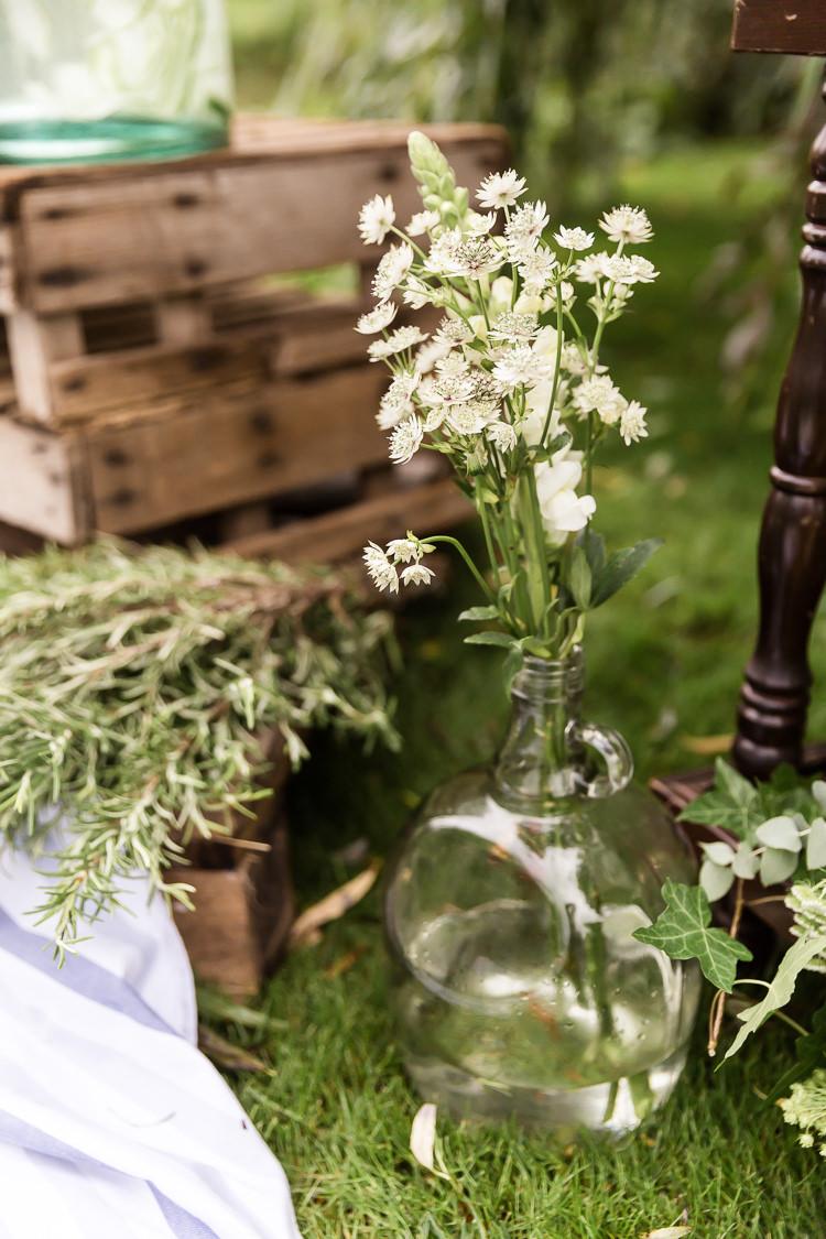 Bottle Flowers White Organic Rustic Greenery Wedding Ideas http://sarahbrookesphotography.com/