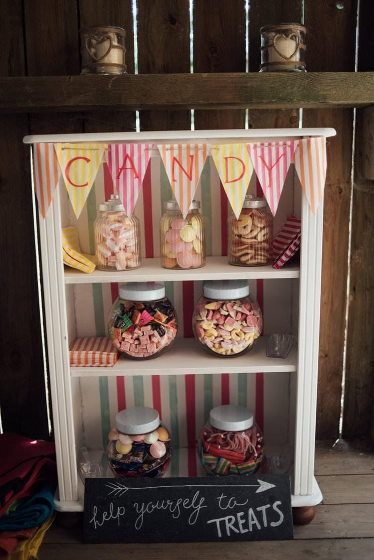 Candy Sweets bar Treats Bunting Jars Pick n Mix Favours Adventurous Festival Bohemian Wedding https://libertypearlphotography.com/