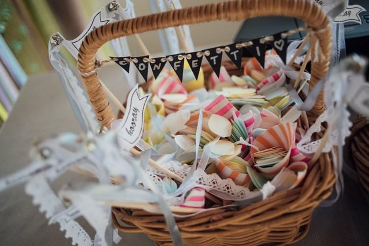 Confetti Cones Basket Yay Hooray Flag Miniature Bunting Ribbon Adventurous Festival Bohemian Wedding https://libertypearlphotography.com/