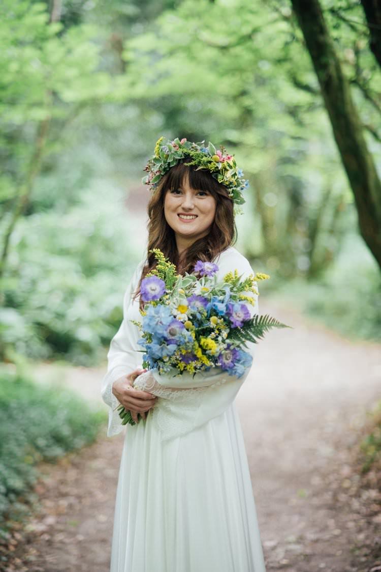 Bride Bridal Flower Crown Wildflower Bouquet Meadow long Sleeve Silk Dress 70s Adventurous Festival Bohemian Wedding https://libertypearlphotography.com/