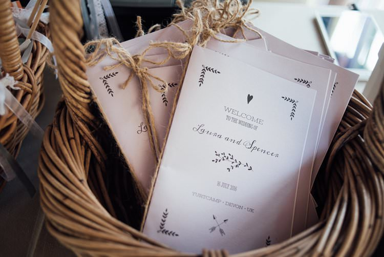 Order of Service Twine Basket Adventurous Festival Bohemian Wedding https://libertypearlphotography.com/