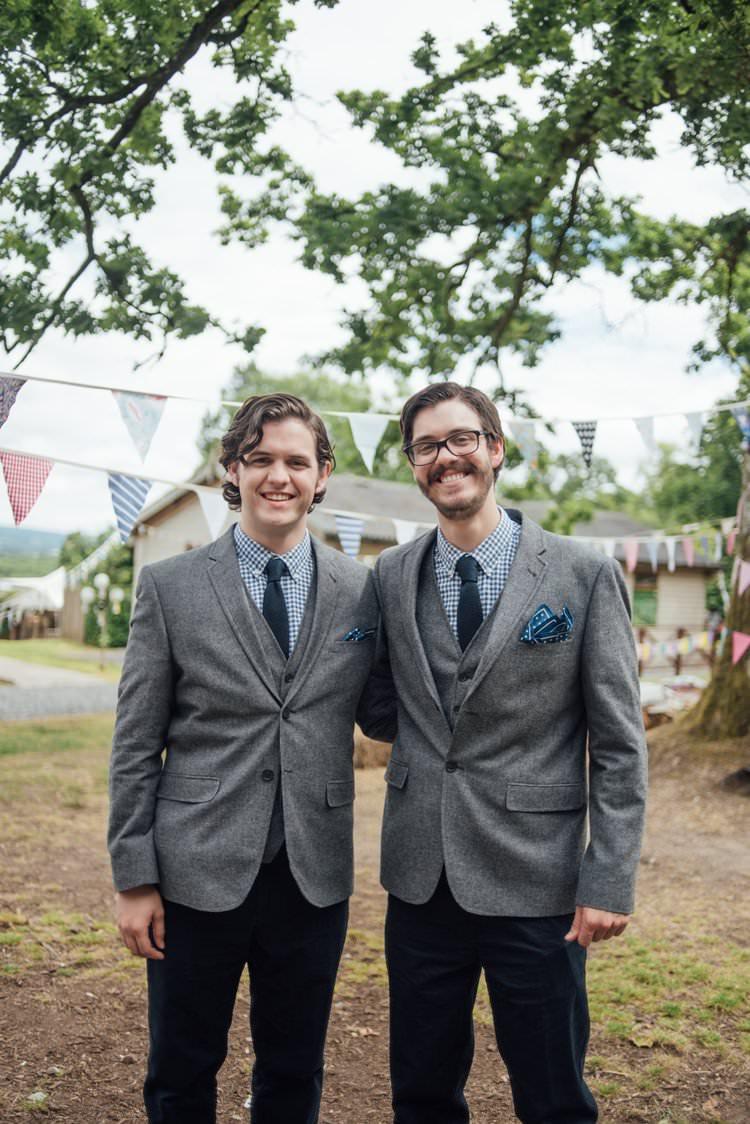 Tweed Three Piece Suit Gingham Checked Shirt Grey Waistcoat Pocket square Blue Adventurous Festival Bohemian Wedding https://libertypearlphotography.com/