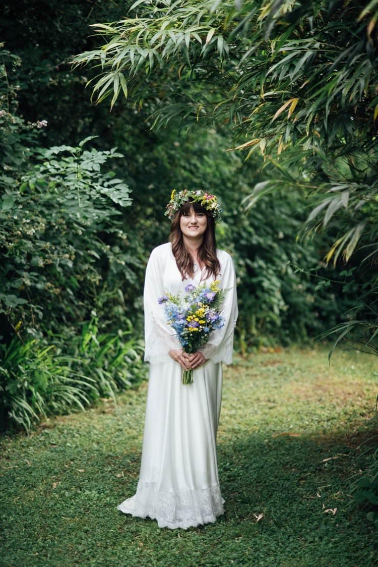 Bride Bridal Flower Crown Wildflower Bouquet Meadow long Sleeve Silk Dress 70s Gown Adventurous Festival Bohemian Wedding https://libertypearlphotography.com/