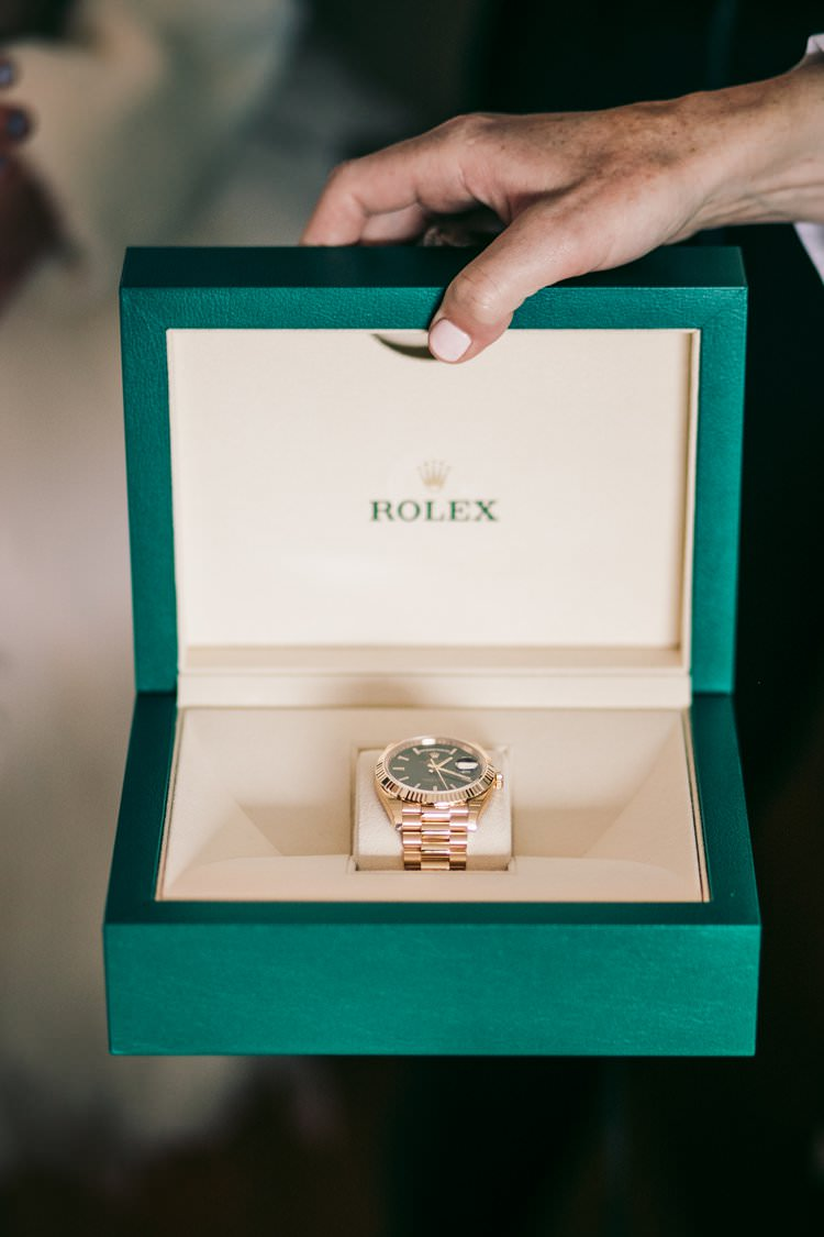 Wedding Morning Gift Rolex Watch Bride Groom | Festive Glamour Christmas New Years Eve Wedding http://www.stevendrayimages.com/