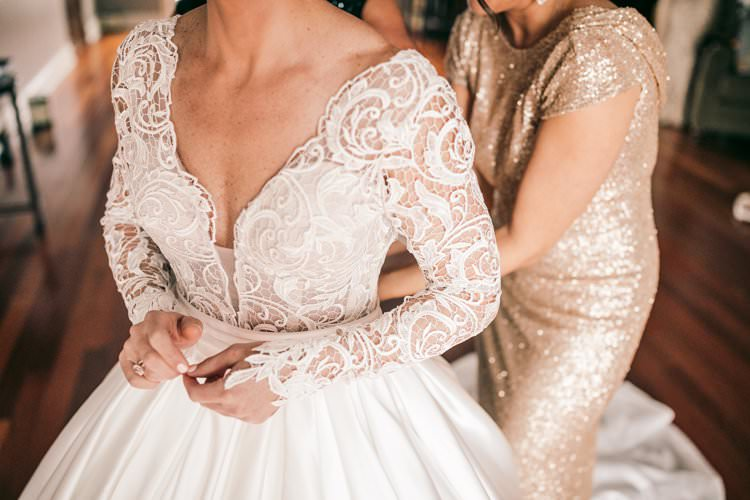Bride Lace Sleeves Winter Gown Romantic Pnina Tornai Bridesmaid Sequins | Festive Glamour Christmas New Years Eve Wedding http://www.stevendrayimages.com/