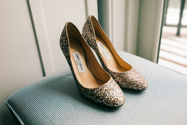 Jimmy Choo Bridal Shoes Gold Sparkly Bride Prep | Festive Glamour Christmas New Years Eve Wedding http://www.stevendrayimages.com/