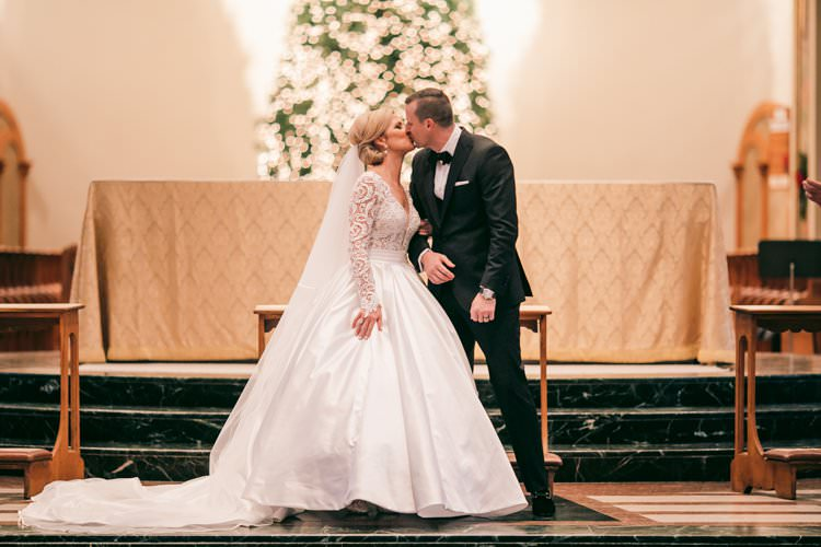Ceremony Aisle Tree Lights Kiss Aisle Long Sleeve Dress | Festive Glamour Christmas New Years Eve Wedding http://www.stevendrayimages.com/