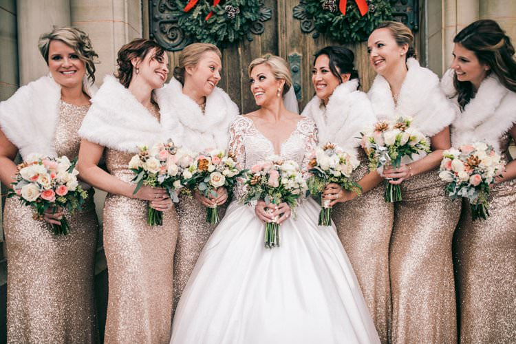 Winter Wreaths Decor Sequin Bride Bridesmaids Fur Tulle Blush Dress | Festive Glamour Christmas New Years Eve Wedding http://www.stevendrayimages.com/