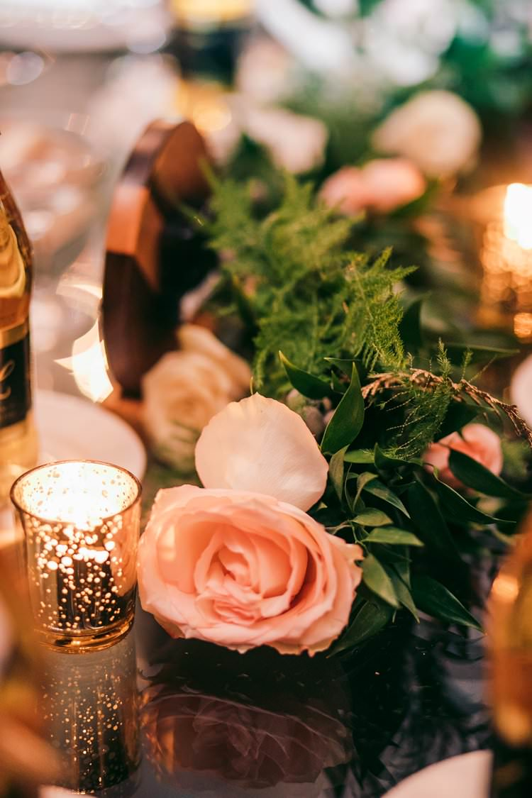 Winter Decor Blush Pink Roses Garland Tea Lights Glass | Festive Glamour Christmas New Years Eve Wedding http://www.stevendrayimages.com/